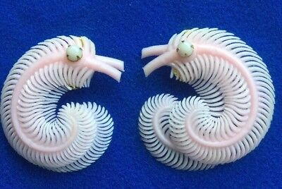 Vintage Retro Baby Pink Large Soft Plastic Clip Earrings c1940 50s - Wed Bride