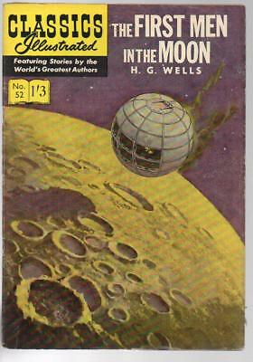 #52 First Men In The Moon H G Wells Classics Illustrated HRN 126 British Edition