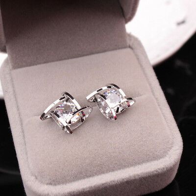 Gold/Silver Crystal Square Stud Party Earrings For Women Jewelry Gift LH