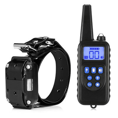 800m Waterproof Rechargeable Dog Training Collar Remote Control LCD Display