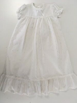 Vintage Cotton Lace Christening Dress Gown Embroidered Baby