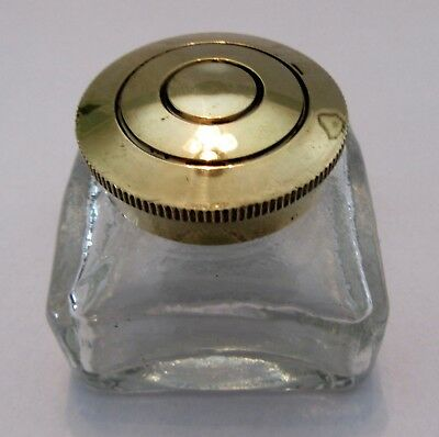 Antique Inkwells. Glass Replacement Inkwells with Brass Lid