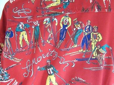 Vtg 1983 RARE Ralph Lauren Sz 8 M Red Blue St Moritz Cross Country Ski LS Shirt