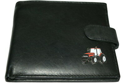 Case International Red Tractor Wallet Leather Black or Dark Brown Gift Boxed