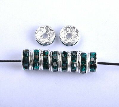 100pcs Emerald Czech Crystal Rhinestone Silver Rondelle Spacer Beads 8MM