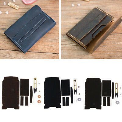 DIY Handmade Leather Wallet Purse Bag Making Kit Leathercraft Tools 3 Colors