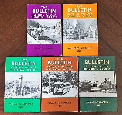 Lot of 5 National Railway Historical Society Bulletins 1972 Vol. 37, #1,2,4,5,6