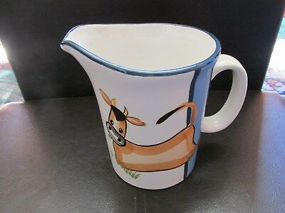 "Jersey Pottery Milk Jug. Cartoon Jersey Cow Design. 5"" Tall."