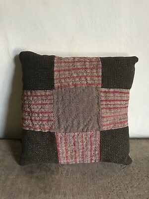 Large Handmade Early Pillow Antique Red & Green  Linsey Woolsey AAFA Textile #2