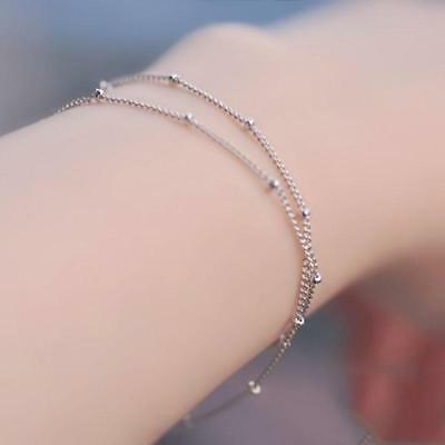 Adjustable Beads Double-Layer Bracelet Bangle Chain Fashion Gifts Silvery/Golden