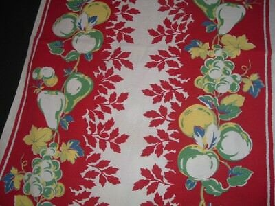 Vtg 50s Mid Century Retro Red Kitchen Fruit Grapes Cherry Table Runner 42x16 #Bd