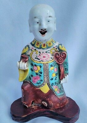 Ancien Personnage En Porcelaine De Chine Antique Chinese Figure Shiwan 18Th