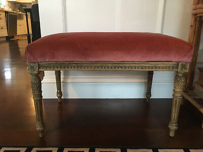 Antique 19th Century French Louis XVI Carved Wood And Velvet Bench Footstool