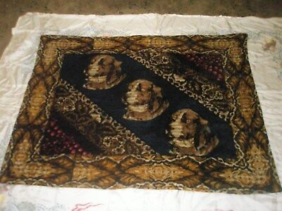 "Antique Horsehair ""Three Dog"" Horse & Buggy Sleigh Blanket Lap Robe (Glass eyes)"
