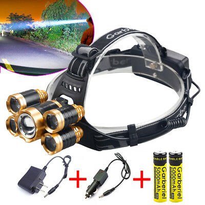 90000Lumens 5x T6 LED Rechargeable 18650 Headlamp Head Light Torch Lamp USA
