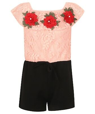 Girls/Kids Pink and Black Lace  Red Rose embroidered Play suit/Jumpsuit