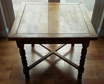 Vintage Oak Draw Leaf Table  3'x 3' to 5'x 3' Extended For Upcycling/Restoration