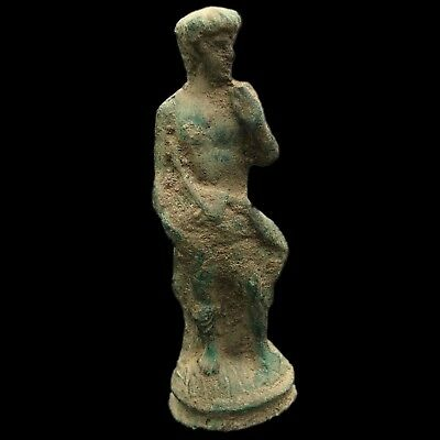 Roman Ancient Bronze Statue On A Stand - 200-400 Ad