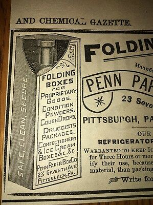 Folding Boxes For Drugs Ice Cream Penn Paper 1892 Ad Pittsburgh Pa Doctor Pharma