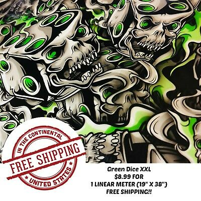 "Hydrographic Water Transfer Hydro Dipping Film Green Dice Xxl 1M (19"" X 38"")"