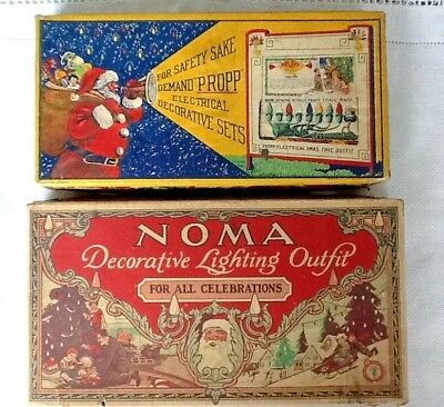 2 Vintage Christmas Light Boxes c. 1920s ONLY (NO LIGHTS), NOMA, PROPP