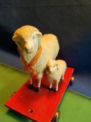 Antique German Wooly Sheep Wooden Pull Toy Putz  Christmas Display 1900s 5x4