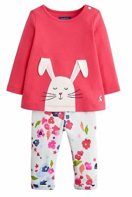 JOULES Baby Girl Olivia Deep Pink Cotton Bunny Set BNWT NEW
