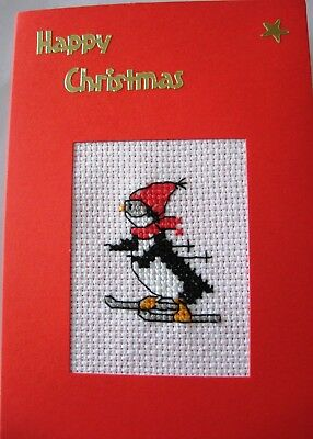 Christmas Card Completed Cross Stitch Penguin Skiing 6X4""