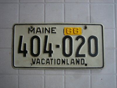 1966 Maine License Plate with metal tab