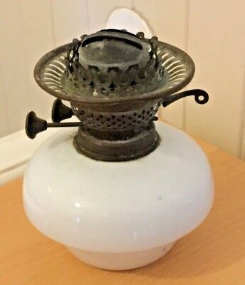 VINTAGE WHITE GLASS OIL LAMP BASE with MOVEABLE INDEPENDENT WICKS