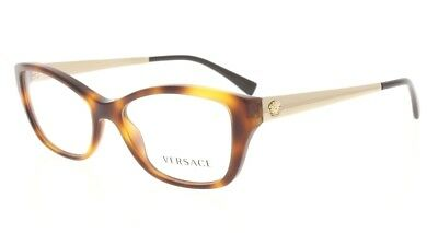 068de766c7ca VERSACE VE 3236 5217 Shiny Havana   Gold Rectangular 52MM Eyeglasses NWC  AUTH