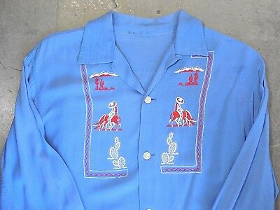 Vintage 1950's Blue Shirt with Mexican Embroidered Design Size S