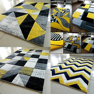 Grey Yellow Modern Area Rug Luxurious Thick Carved Soft Heavy Large Floor Mat Uk