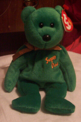 Ty   Beanie Babies  Super Dad-E 2004 Green Bear With Tags