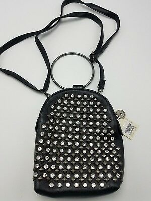 Purse Cell Phone Pouch Wrist Ring Cross Body Black Rhinestone Faux Leather NEW