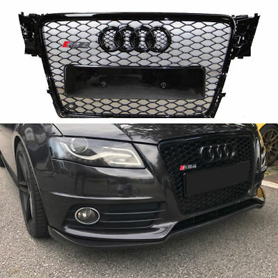For 2009-2012 Audi A4 S4 B8 Black Grille RS4 Style Honeycomb Grill Gloss Trim