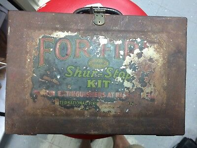 Vintage SHUR-STOP Kit w/ 5 Glass Fire Grenade Extinguishers Wall Mount Metal Box