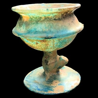 Very Rare Huge Ancient Roman Glass Chalice 1St Century A.d. (1)