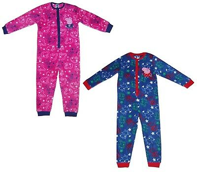 Peppa Pig Childrens Kids All in One Pyjamas Fleece
