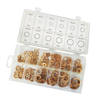 280x Assorted Copper Washers Sump Plug Seal Bolt Gasket Kit with Plastic Box