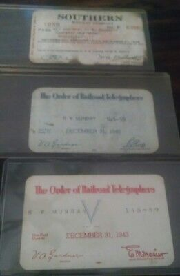 Set of Three Southern Railway Telegrapher's Passes 1939, 1940, 1943