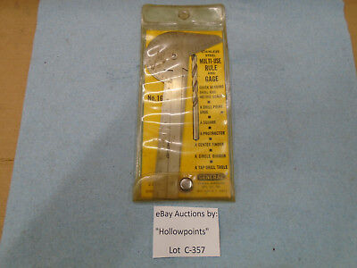 C357 General Hdwe. Mfg. No. 16 Multi-use Rule Gauge Drill Angle Protractor 1964