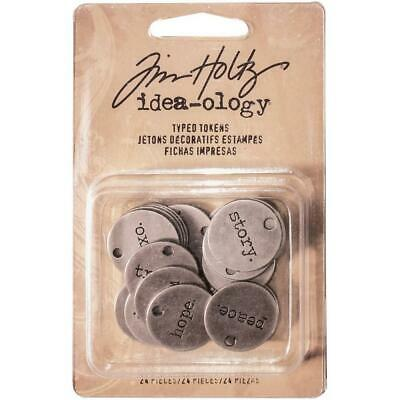 Tim Holtz Idea-Ology - Metal Typed Tokens - 24 Pieces