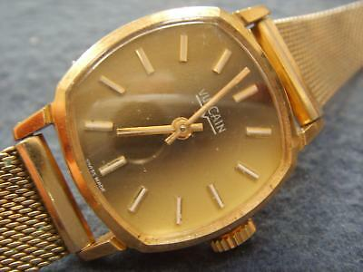 Ladies Gold Plated Vulcain Wind Up Watch Finesse Gold Filled Mesh Strap.