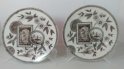2 Brown & white transferware Aesthetic Movement plates, Staffordshire, England