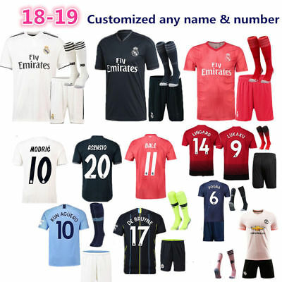 18/19 New Boys Men Football Full Kit with Socks Kids Soccer Jersey Sports Outfit