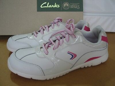 New Clarks Older Girls Or Ladies  Soft Leather Trainers Various Sizes