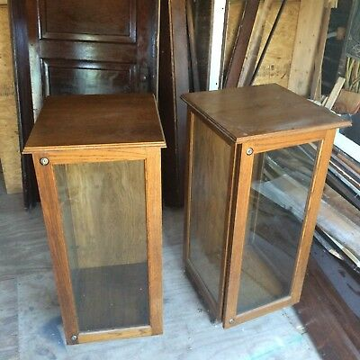 Vintage General Store Display Two Case Oak Cabinet Three Sides Glass With Key