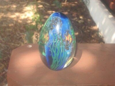 Zellique Seascape Reef Four Angelfish Art Glass Iridescent Paperweight Signed