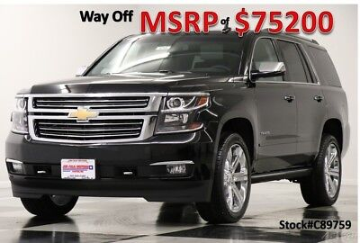 Chevrolet Tahoe MSRP$75200 4WD Premier DVD GPS Sunroof Black 4X4 New Navigation Heated Cooled Leather 22 In Rims Head Up Captains 17 2017 18 5.3